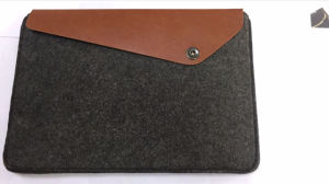 New Design Felt Genuine Leather Tablet Document Wallet Holder pictures & photos