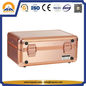 Golden Makeup Case with LED Lights and Mirror (HB-6403) pictures & photos