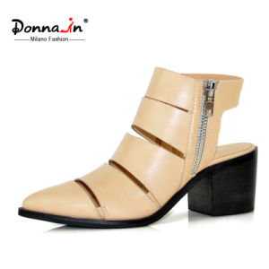 Casual Lady Leather Pointed Toe High Heels Hollow-out Women Shoes pictures & photos