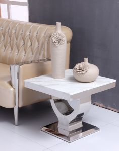 Modern Sofa Square Marble Metal Side Table pictures & photos