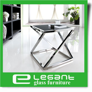 Modern Black Painting Tempered Glass Side Table with Stainless Steel Frame pictures & photos