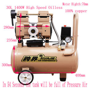 30L New Design Double Cylinder Oilless Rotary Screw Air Compressor pictures & photos