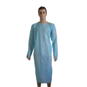 Disposable Thumb Loop Gown for Food Industry Open Back pictures & photos