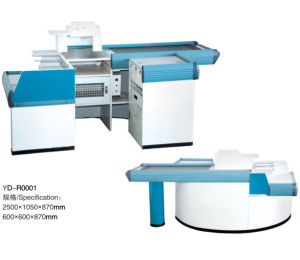 Supermarket Counter Cash Checkout Table with Conveyor Belt pictures & photos