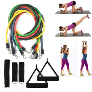 Heavy Duty Anti-Snap 11 PCS Resistance Band Set with Door Anchor, Ankle Strap & Carrying Case pictures & photos