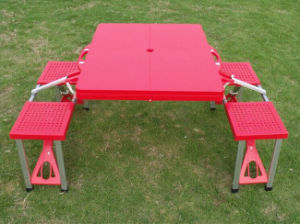 Outdoor Folding Picnic Table with Plastic Chair
