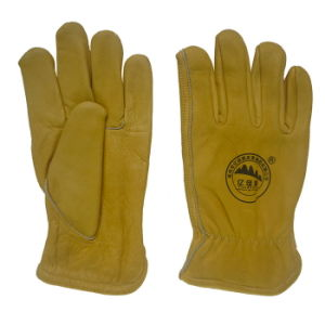 Cow Grain Leather Keystone Thumb Driving Work Glove pictures & photos