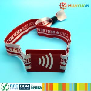 Cashless payment 13.56MHz MIFARE Plus S 2K RFID NFC woven wristbands pictures & photos