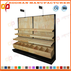 Single Side Steel and Wood Supermarket Display Stand Shelf (ZHs652) pictures & photos
