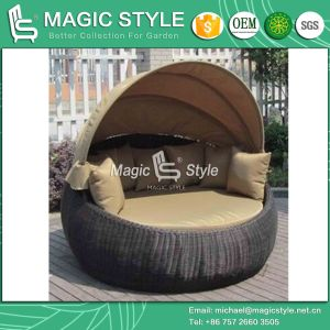 Rattan Daybed with Umbrella with Cushion Garden Sun Lounge (Magic Style) pictures & photos