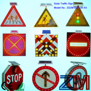 Aluminum Alloy Solar Powered Traffic Sign / Flashing Road Sign pictures & photos
