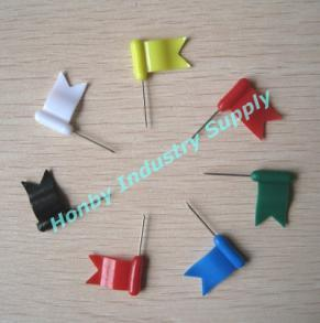 30mm Assorted Colors Plastic Head Office Supplies Waving Flag Map Push Pins