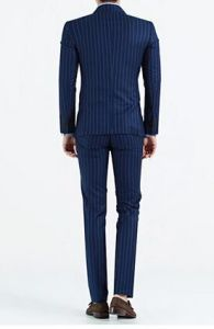 Man Double-Breasted Suits Navy Woolen Suit pictures & photos
