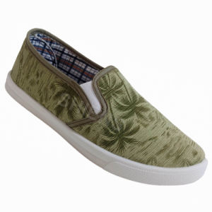 Green Canvas Injection Shoes with Coconut Tree Print for Men