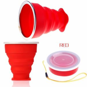 Outdoor Travel Silicone Retractable Telescopic Collapsible Folding Foldable Water Cup pictures & photos