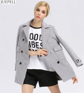 Autumn and Winter Gray Solid Color Woolen Coat Lapel Wool Breasted Thin Female Long Women Coat pictures & photos