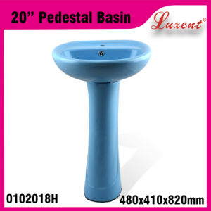 Standing High Quality Colourfull Porcelain Hair Wash Pedestal Sink