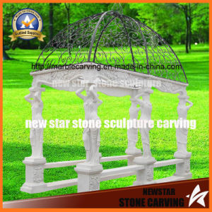 White Carrara Marble Women Statue Columns Gazebo with Roof pictures & photos