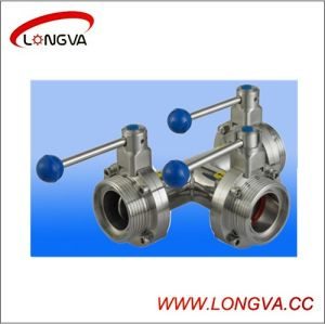 Sanitary Stainless Steel Manual Three-Way Butterfly Valve pictures & photos
