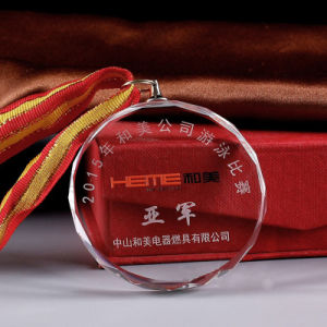 Customized Sport Winner Crystal Medal, Crystal Medallion with Ribbon pictures & photos