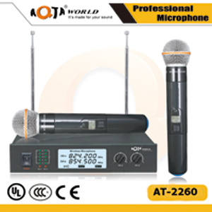 Hot Sale! Professional Cordless Vocal Microphone System with Two Channels