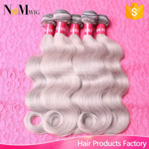 2017 New Fashion Silver Grey Human Hair Wefts Extensions Brazilian Body Wave Virgin Brazilian Hair Grey Hair Weave pictures & photos