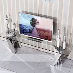 latest Eurpean Design Modern Glass TV Stand with Stainless Steel pictures & photos