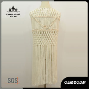Women Metallic Bead Fringe White Crochet Cardigan Beachwear pictures & photos