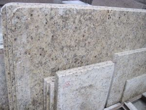 Wholesale New Venetian Gold Giallo Ornamental Prefab Island Kitchen Countertops pictures & photos