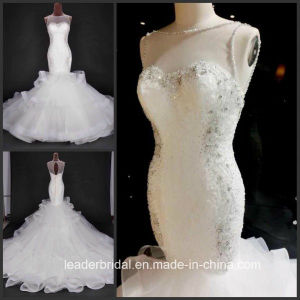 Mermaid Wedding Dress Ruffled Organza Beading Lace Custom Made Bridal Gowns A1767 pictures & photos