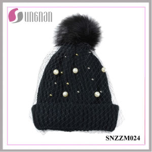 2016 Fashion Pearl Ladies Temperament Mesh Knitted Hats (SNZZM024) pictures & photos