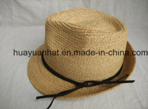 100% Raffia Straw Leisurely Style with Natural Color Fedora Hats pictures & photos
