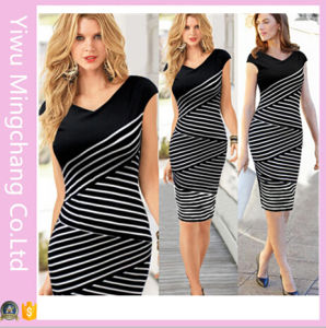 2016 Europe and America Black and White Striped Plus Size Slimming Pencil Dress pictures & photos