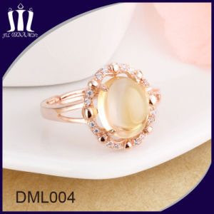 Rose Gold 925 Sterling Silver Women Wedding Ring with Big Yellow Crystal pictures & photos