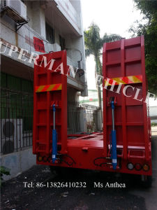 Extensible 2 Axle Lowbed Lowdeck Low Platform Heavy Duty Lowboy Semi Trailer pictures & photos