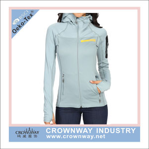 Knitted Fitness Hoody Fleece Jacket Women Sportswear with Thumb Hole pictures & photos