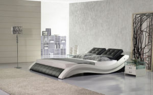 White and Black Genuine Leather Bedroom King Size Soft Bed (HC301) pictures & photos