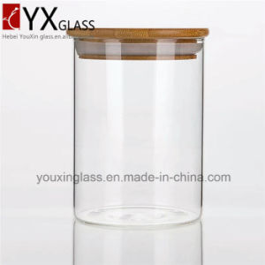 2016 Popular Cheap Borosilicate Storage Glass Jar with Wooden Lid Hermetic Pot Glass Sealed Cans Collection Glass Storage Tank Glassware pictures & photos