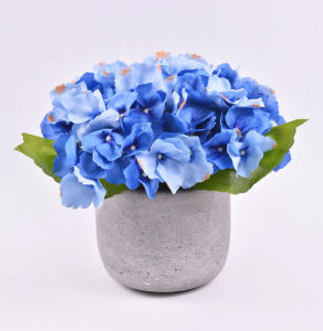 Artificial Big Hydrangea Flowers in Cement Pot for Decoration