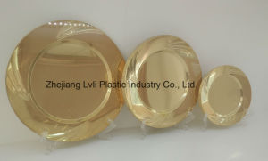 Plastic Plate, Disposable, Tableware, Tray, Dish, PS, SGS, Golden, Pb-03 pictures & photos