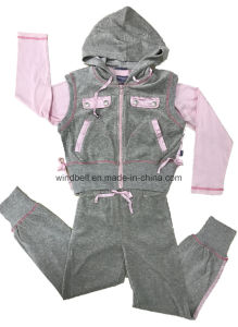 Velvet Three-Piece Suit for Girl pictures & photos