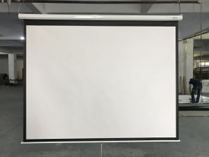 Wall Mount Manual Projector Screen Pull Down Projection Screen pictures & photos