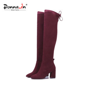 Casual Lady Shoes Square Toe High Heels Lace-up Women Boots pictures & photos