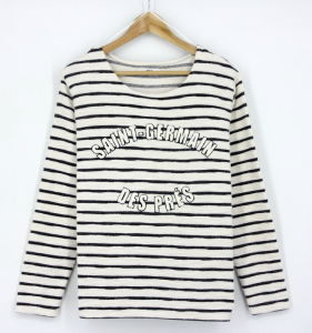 Ss17 New Design Women Yarn Dye Stripe Cotton French Terry Loopback Embroidery Sweatshirts Hoodies pictures & photos