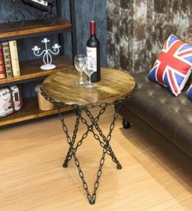 New Creative Chains, Wrought Iron Wood Round Tea Table, Tea Table and Contracted Sitting Room Sofa Edge a Few Coffee Table (M-X3820) pictures & photos