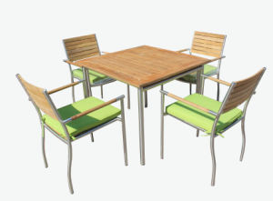 Outdoor Garden Patio Dining Table Restaurant Chair Furniture Set Fsc Teak Wood #304 Stainless Steel pictures & photos