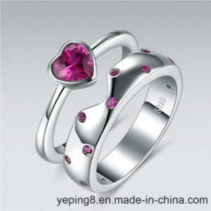 Pink Diamond Stacking Engagement 925 Silver Ring - Set 62 pictures & photos