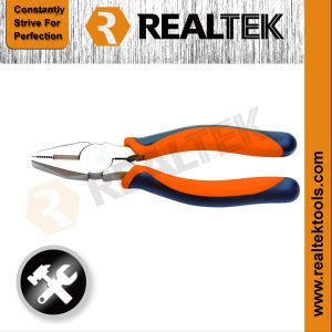 Professional Nickel-Plated Combination Pliers with Bi-Color Dipped Handles pictures & photos