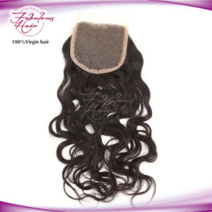 Indian Virgin Human Hair Natural Wave Freestyle Lace Closure pictures & photos