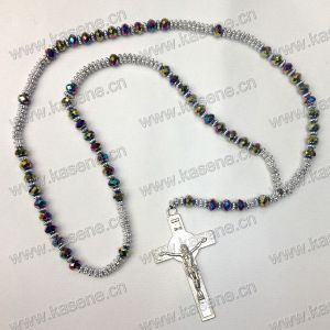 Fashion Crystal and Metal Beads Cord Rosary Necklace